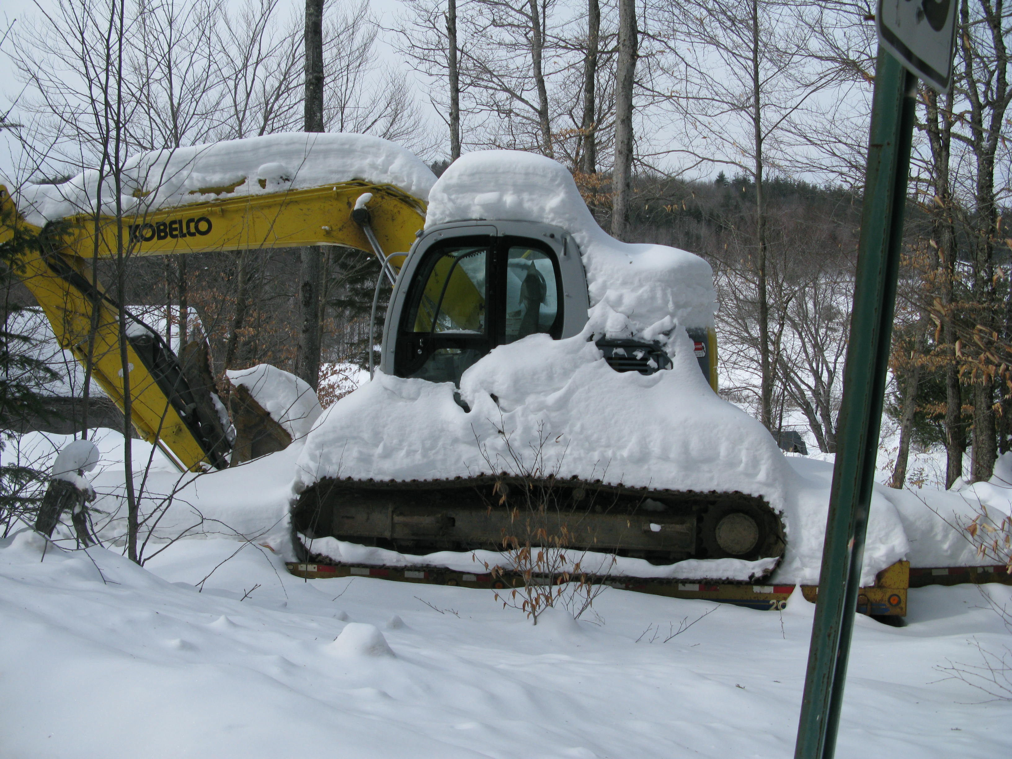 Walt's excavator, frozen until spring work begins.