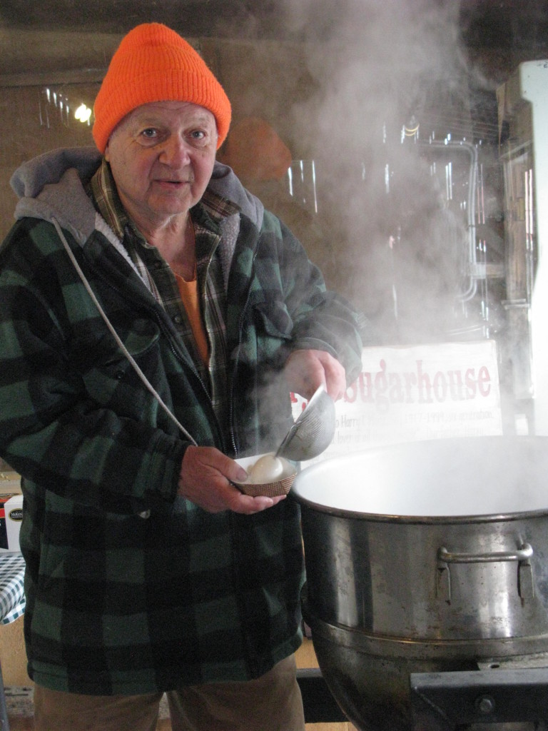 Elliott Morse boiling eggs in maple sugar water spring 2015