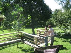 Guests viewing the gardens at Fledermaus Tea House
