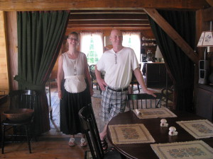 Renate and Glenn in their handcrafted tea house
